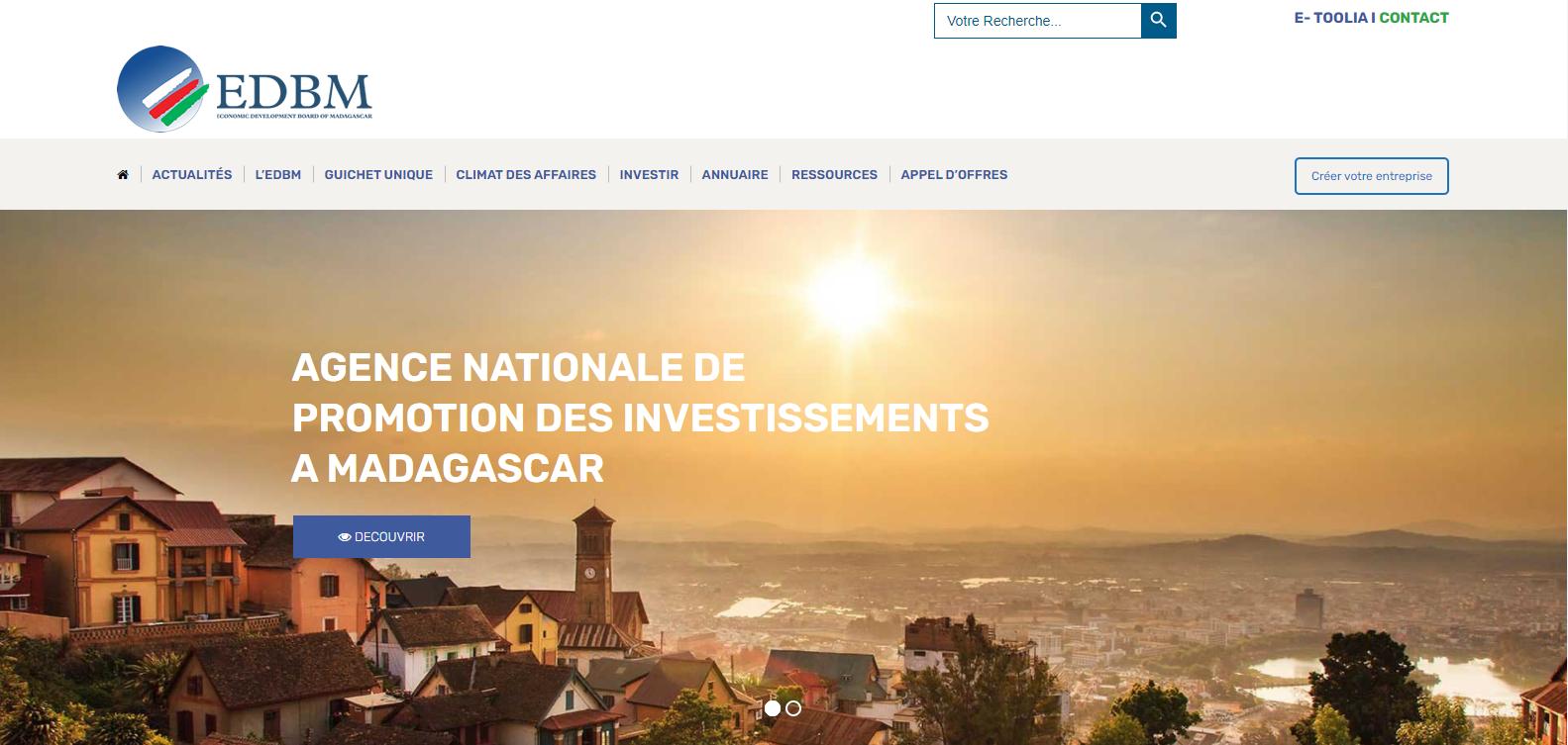 edbm site web agence de promotion madagascar plateforme en ligne